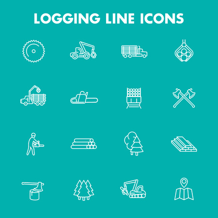 logging: Logging, sawmill, forestry equipment line icons, isolated set, logging truck, tree harvester, timber, lumberjack, wood, lumber, vector Illustration