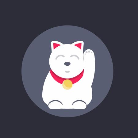 neko: Maneki neko, japanese lucky cat round icon, vector illustration Illustration