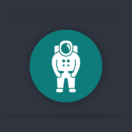 outer clothing: Astronaut icon, spaceman, space suit round icon, vector illustration