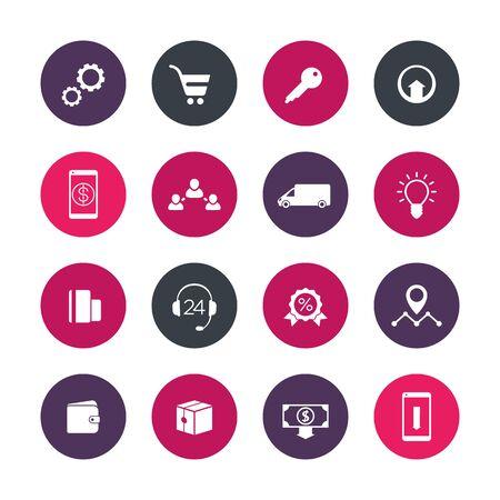 e store: E-commerce, online store, shop, website, round icons over white, vector illustration