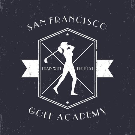mujer golpeada: emblema de la Academia de Golf de la vendimia con el jugador de golf del club de golf de balanceo, blanco en la ilustración oscura, vector Vectores