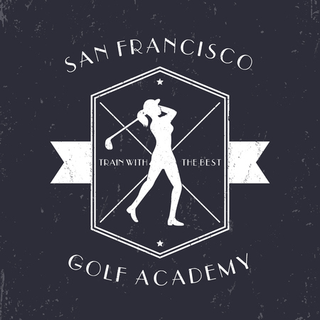 mujer golpeada: Golf Academy vintage emblem with golf player swinging golf club, white on dark, vector illustration