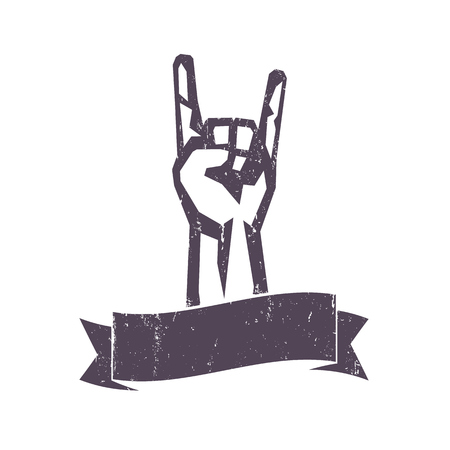 segno della roccia, mano-corno, popolare gesto rock-concerto isolato su bianco, illustrazione vettoriale Vettoriali