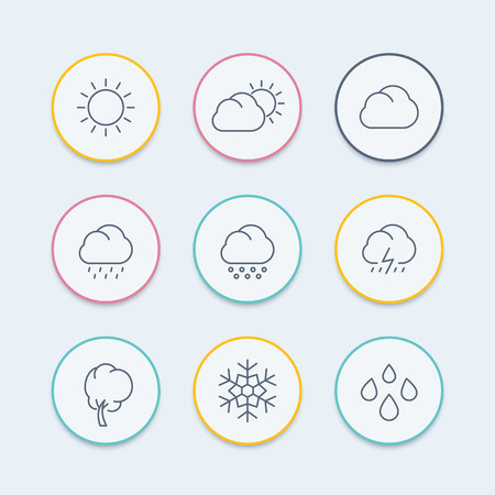 El tiempo, soleado, día nublado, lluvia, granizo, nieve, iconos de líneas redondas, ilustración vectorial