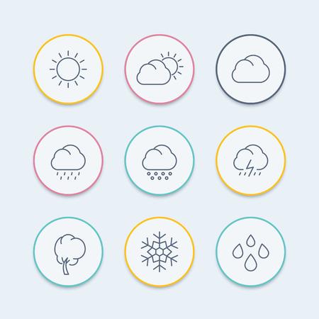 Météo, ensoleillé, jour nuageux, pluie, grêle, neige, icônes ligne rondes, illustration vectorielle