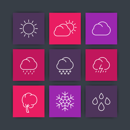 cloudy day: Weather, sunny, cloudy day, rain, snowflake, hail, snow, line square icons, vector illustration
