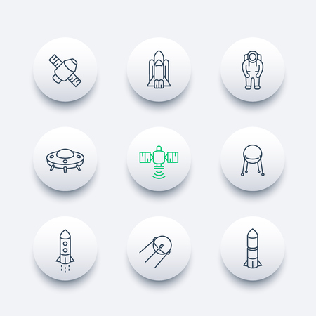 outerspace: space line round modern icons, satellite, astronaut, space shuttle, spaceship, rocket icon, vector illustration