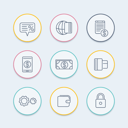 methods: Payment methods line icons, electronic payment, credit card, wallet, mobile payment, cash round icons, vector illustration