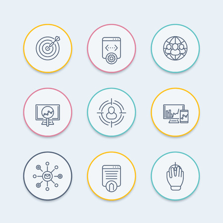 indexing: seo round thin line icons, search engine optimization, internet marketing, website indexing, seo tools icon, vector illustration Illustration