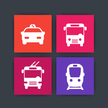 trolleybus: City transport simple square icons, bus, subway, taxi, vector illustration