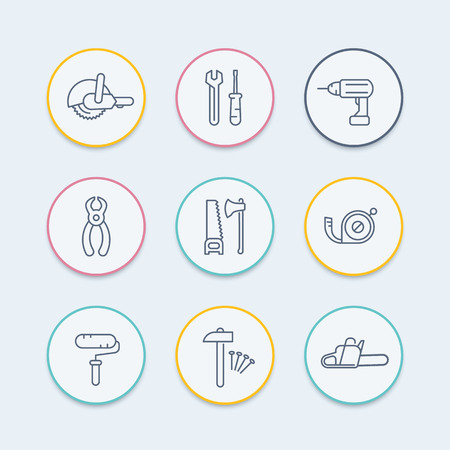 electric line: construction tools thin line icons, wrench, drill, saw icon, vector illustration