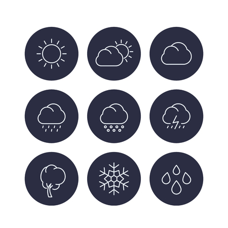 cloudy day: Weather line icons, sunny, cloudy day, rain, snowflake, hail, snow round icons, vector illustration Illustration