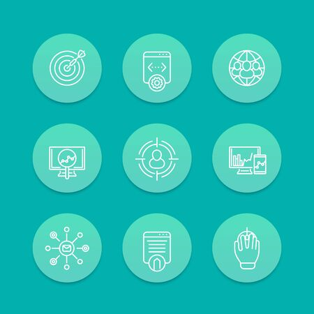 indexing: seo line icons, search engine optimization, internet marketing, website indexing, seo tools icons, aquamarine set, web page indexing