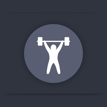 strength training: strength training round icon, workout, fitness icon, gym sign, vector illustration Illustration