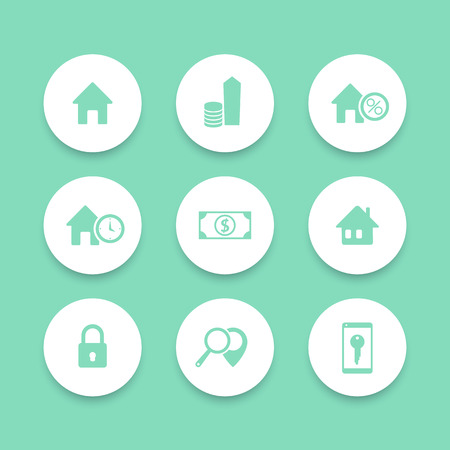 apartment search: Real Estate, house sale, search, round icons set, vector illustration Illustration