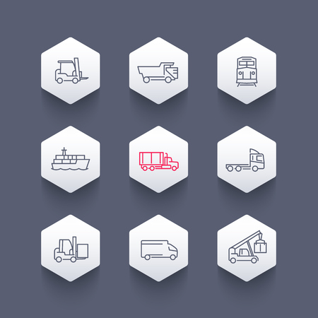 lading: Transportation, line icons, forklift, cargo ship, freight train, cargo truck, hexagon icons set, vector illustration Illustration