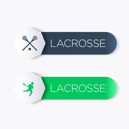 crosse: Lacrosse logo, icons, banner, labels in blue and green, vector illustration