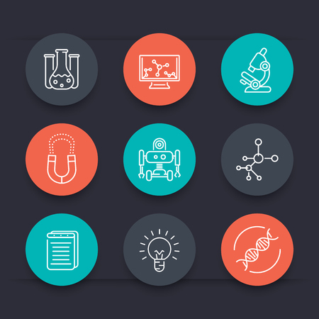 Science round line icons, laboratory, chemistry, physics, biology, research icon, vector illustration Vector Illustration
