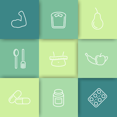 fat loss: Diet, nutrition, fat loss line icons on squares, vector illustration