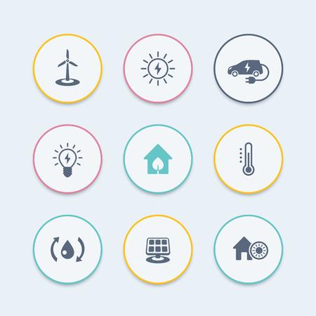 ecologic: Green ecologic house, energy saving technologies, round stylish icons, vector illustration