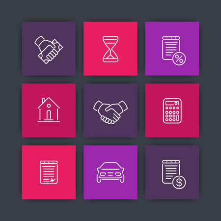 leasing: Leasing line icons, loan, deal, handshake icon, vector illustration Illustration