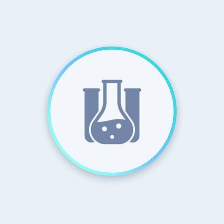 Chemistry icon, lab glass tube, chemistry lab round icon, vector illustration