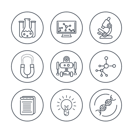 Science line icons in circles, research, laboratory, chemistry, physics, biology icon, vector illustration Illustration