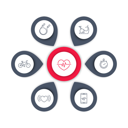 aspects: Aspects of Cardio Training line icons, editable infographics elements, vector illustration Illustration