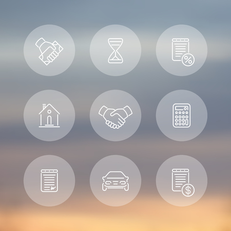 handgrip: Leasing line icons, banking, loan, assets, deal round transparent icons, vector illustration