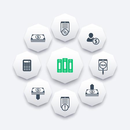 Buchhaltung, Finanzen, Gehaltsabrechnung, Raten Achteck-Icons, Vektor-Illustration