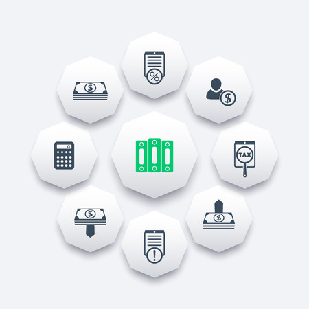 Bookkeeping, finance, payroll, rates octagon icons, vector illustration