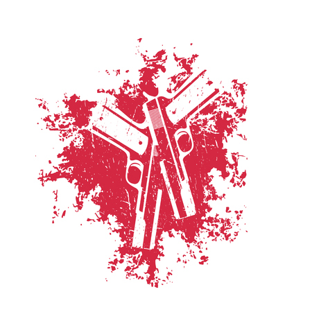 pistols: guns on red splash, 2 pistols, t-shirt design, vector illustration