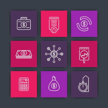 futures: finance line icons, investments, financial management, investment analysis icons on squares, vector illustration Illustration