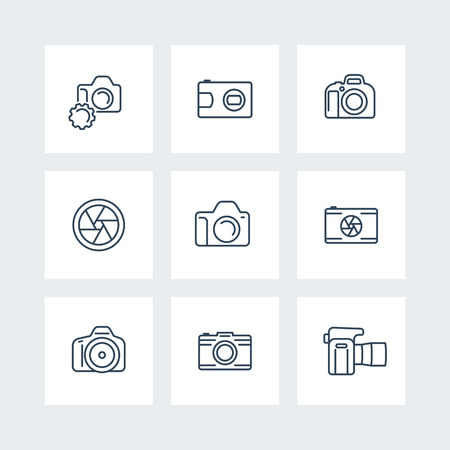 dslr: camera, photography line icons, dslr, aperture icons on squares, vector illustration