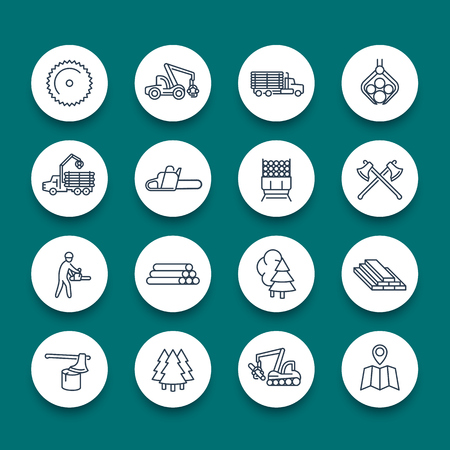 Logging, sawmill, forestry equipment line round icons, logging truck, tree harvester, timber, lumberjack, wood, lumber, vector illustration