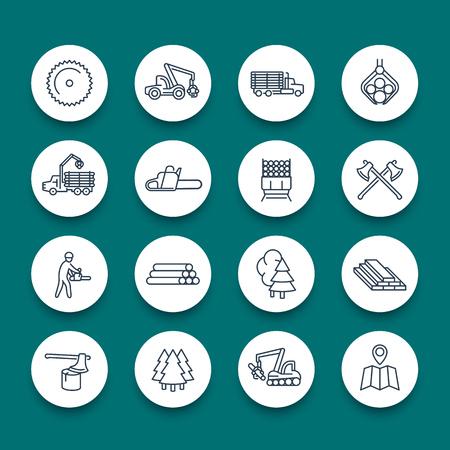 Logging, sawmill, forestry equipment line round icons, logging truck, tree harvester, timber, lumberjack, wood, lumber, vector illustration Illustration