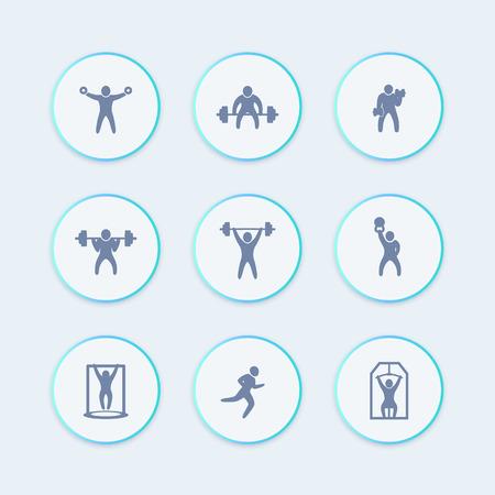 cross bar: Gym, fitness exercises icons, gym training, workout, fitness round stylish icon, vector illustration