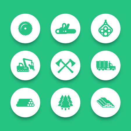 logging: Logging, forestry equipment round icons, sawmill, logging truck, tree harvester, timber, wood, lumber, chainsaw icons set, vector illustration Illustration