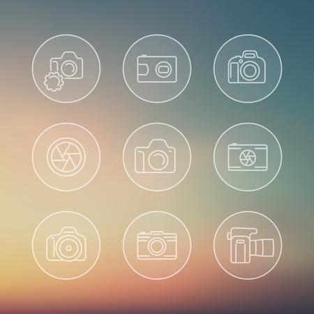 dslr: camera line icons, dslr, aperture, transparent round icons, vector illustration