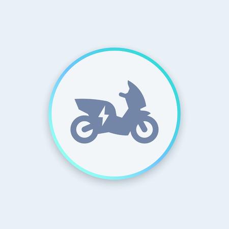 electric vehicle: electric scooter, motorbike round icon, EV, electric vehicle icon, ecologic transport, vector illustration Illustration