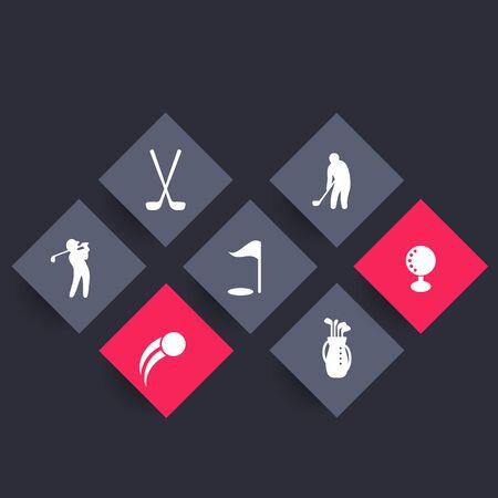 golf bag: Golf rhombic icons, golf clubs, golf player, golfer, golf bag, vector illustration