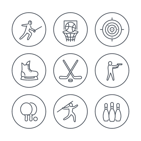 skating on thin ice: sports, games, team sport line icons in circles