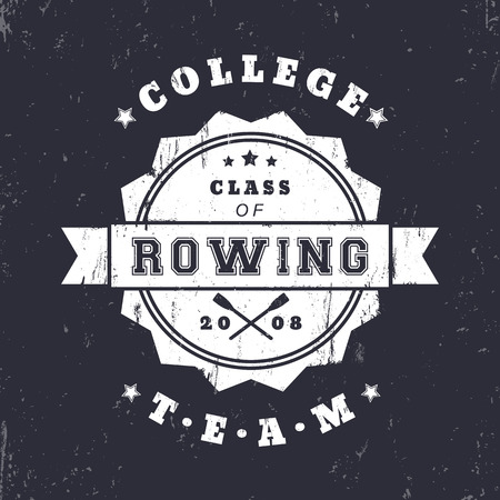 oars: College Rowing team vintage grunge logo, badge with crossed oars, vector illustration Illustration