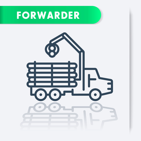logging truck: Forwarder line icon, forestry vehicle, logger, logging truck, vector illustration