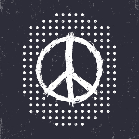 war paint: t-shirt design, print with peace sign and dots, white on dark, vector illustration