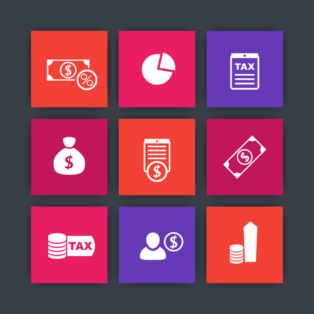 income: tax, finance, payroll, income square icons, vector illustration