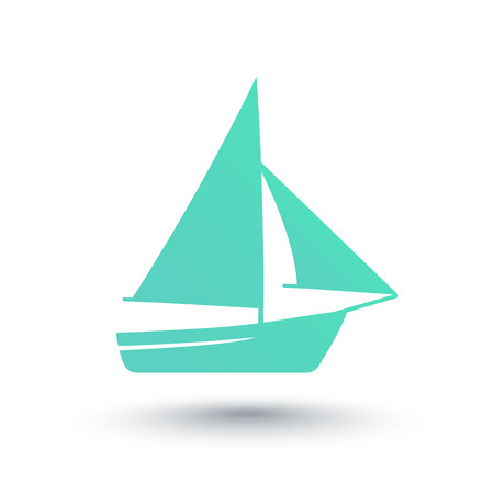 over white: Sailboat icon, isolated over white, vector illustration Illustration