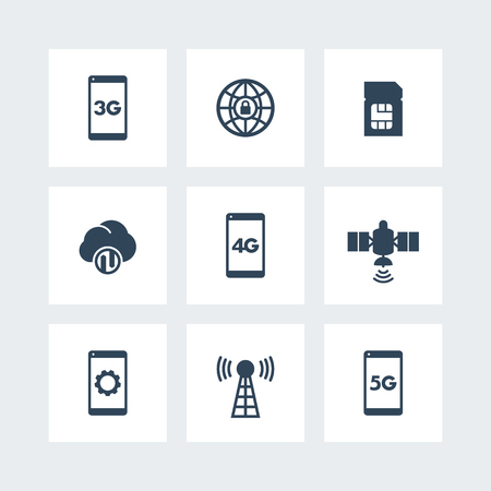 communication icons: wireless technology icons, mobile communication, connection signs, 4g, 5g icons on squares, vector illustration
