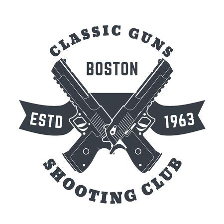 Classic Guns emblem, logo with two powerful pistols, guns, vector illustration Stock Illustratie