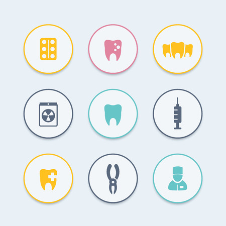 toothcare: Teeth round color icons, dental care, tooth cavity, toothcare, stomatology icons, vector illustration